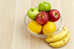 Glass bowl with fruit for diet Stock Photo