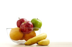 Glass bowl with fruit for diet Royalty Free Stock Images