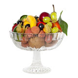 Glass bowl with fruits Royalty Free Stock Images