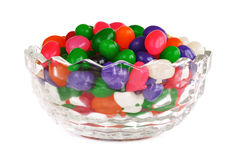 Glass Bowl Full of Colorful Jelly Beans Stock Photography