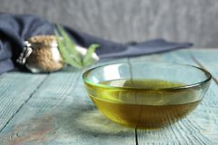 Glass bowl with hemp oil royalty free stock image
