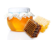 Glass bowl with honey Royalty Free Stock Photos