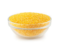 Glass bowl with maize grits Stock Photography
