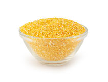 Glass bowl with maize grits Royalty Free Stock Photography