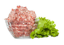 Glass bowl with minced meat and herbs Royalty Free Stock Image