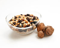 Glass bowl with muesli and nuts Stock Photo