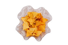 Glass bowl with nachos, viewed from above Royalty Free Stock Images