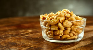 Glass Bowl Of Fresh Roasted Salted Peanuts Stock Image