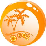 Glass bowl with palm trees. Glass bowl with the palm trees Royalty Free Stock Photography