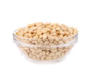 Glass bowl with pine nuts. Stock Image