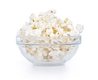 Glass bowl with popcorn Royalty Free Stock Photos