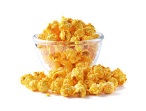 Glass bowl with popcorn Royalty Free Stock Photography