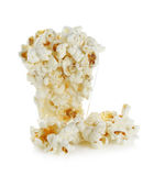 Glass bowl with popcorn on white background.  Royalty Free Stock Photos