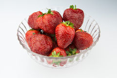 The glass bowl of red strawberry Royalty Free Stock Photos