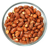 Glass Bowl of Salted Roasted Almonds Stock Photos
