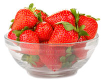 glass bowl with strawberries Stock Photos