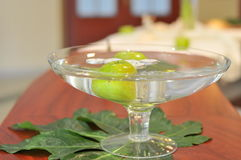 Glass bowl on table Stock Images