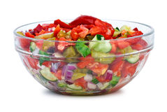 Glass bowl with vegetable salad Stock Images