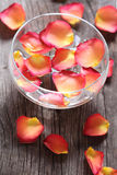 Glass bowl with water and flower petals Royalty Free Stock Photos