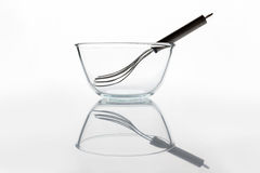 Glass bowl with whisker inside side view with reflection Royalty Free Stock Images