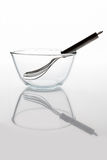 Glass bowl with whisker inside side view with reflection vertical Royalty Free Stock Images