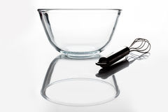 Glass bowl with whisker from side with reflection Stock Photos
