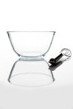 Glass bowl with whisker from side with reflection vertical Stock Photos