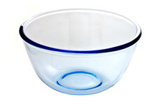 Glass bowl on white background Stock Images