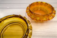 Polish mid century design, diatret bowls. Glass bowls called `diatret`. Polish mid-century design 60s Stock Photos