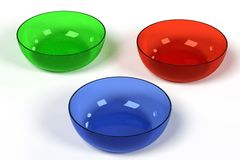 Glass bowls. Realistic 3d render of glass bowls Royalty Free Stock Photo
