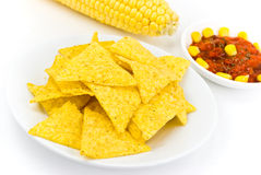 Glass bowls of salsa - dip and tortilla chips in k Royalty Free Stock Photo