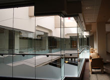 Glass Box. Inside of a student union building Stock Photo