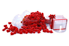 Glass box. Hearts of velvet in a glass box in the form of the heart. with clipping path royalty free illustration