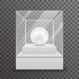 Glass box  3d realistic shop mockup transparent background design vector illustration Stock Photos