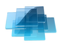 Glass boxes. Helix shape composed by glass boxes Royalty Free Stock Photo