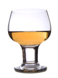 Glass of brandy. Closeup of glass of brandy isolated on white Royalty Free Stock Images