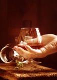 Glass of brandy or cognac Stock Photo