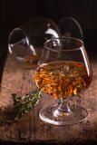 Glass of brandy or cognac Royalty Free Stock Photo
