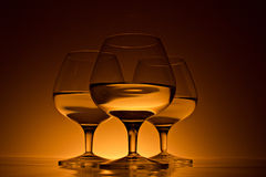 Glass for brandy with beverage Stock Photo
