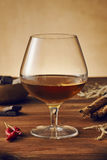 Glass of brandy. On a old wooden table with a bowl with chocolate, cinnamon stiks and chili peppers. Warm background Royalty Free Stock Photography