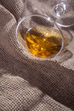 Glass of brandy overturned Royalty Free Stock Photos