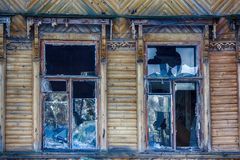 Big window with blue glass destruction Royalty Free Stock Images