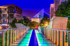 Glass Bridge in Downtown Chattanooga Tennessee TN. Holmberg Glass Bridge and Skyline in Downtown Chattanooga Tennessee TN stock photo