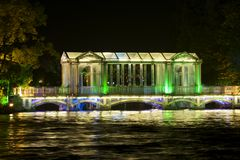 Glass bridge at night in downtown Guilin. Stock Image