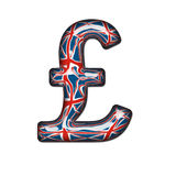 Glass British Pound. Sterling Symbol complete with clipping path Stock Photography