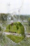 Glass broken bullet Stock Photos