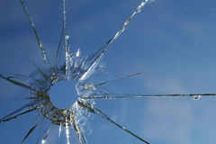 Glass  broken  cracks  splinters Royalty Free Stock Photo