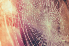Glass broken cracks splinters in front of car . ( Filtered image Royalty Free Stock Photo