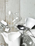 Glass broken dishes wine glass tea cups sauser spoon with fragme Stock Images