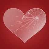 Glass broken heart Royalty Free Stock Image
